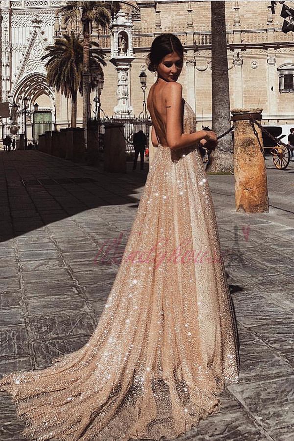 2122ad787f52 ... Sparkly Champagne Backless Long Prom Evening Dress - Thumbnail 2 ...