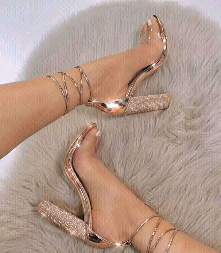 Gold Thick Heels