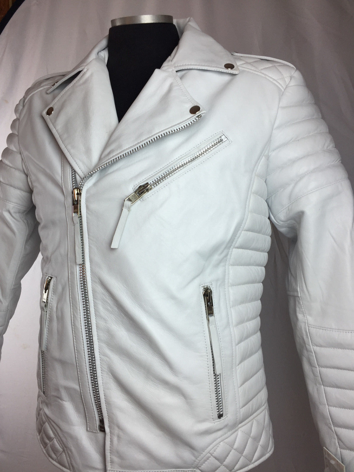4e05b0680 NEW HANDMADE MENS GENUINE LAMBSKIN LEATHER BIKER JACKET MOTORCYCLE STYLE  WHITE Color jacket