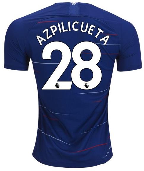 Azpilicueta  28 Chelsea FC Home Soccer Jersey 18 19 Stadium Football ... 3d7718609