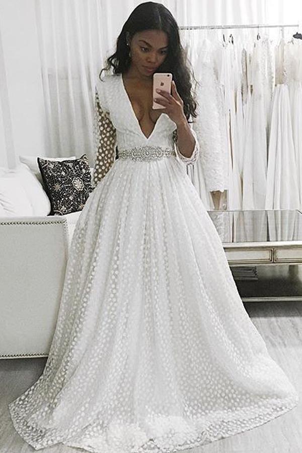 874033d39969 White A Line Sweep Train Deep V Neck Long Sleeve Beading Belt Prom Dress,Wedding  Dress on Storenvy
