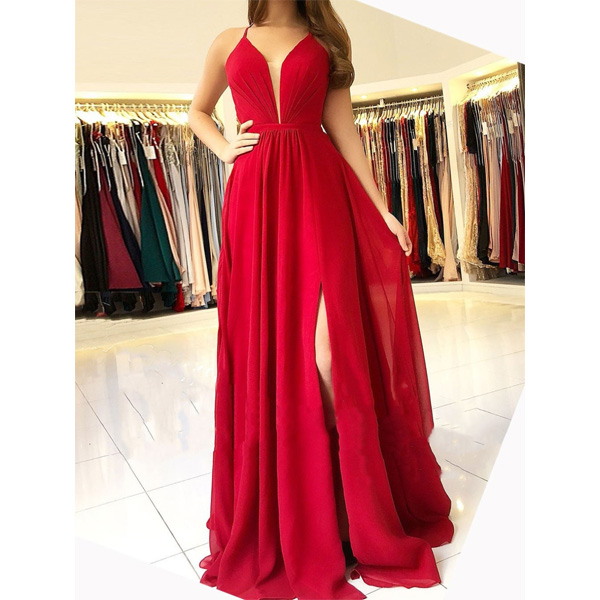 Sexy Bright Red Halter Side Slit Long Evening Prom Dresses Cheap