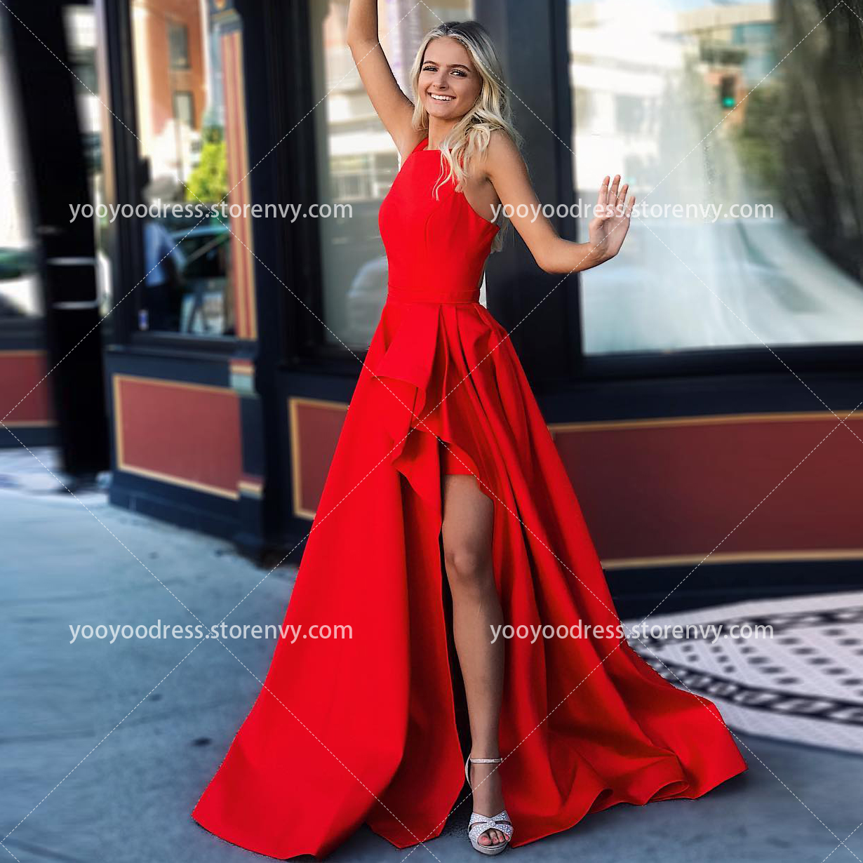 53a2085f0e Hot Sale Red Satin Prom Dress A-Line Round Neck Floor Length Sexy Backless  High Split Formal Evening Dresses Long Party Gown on Storenvy