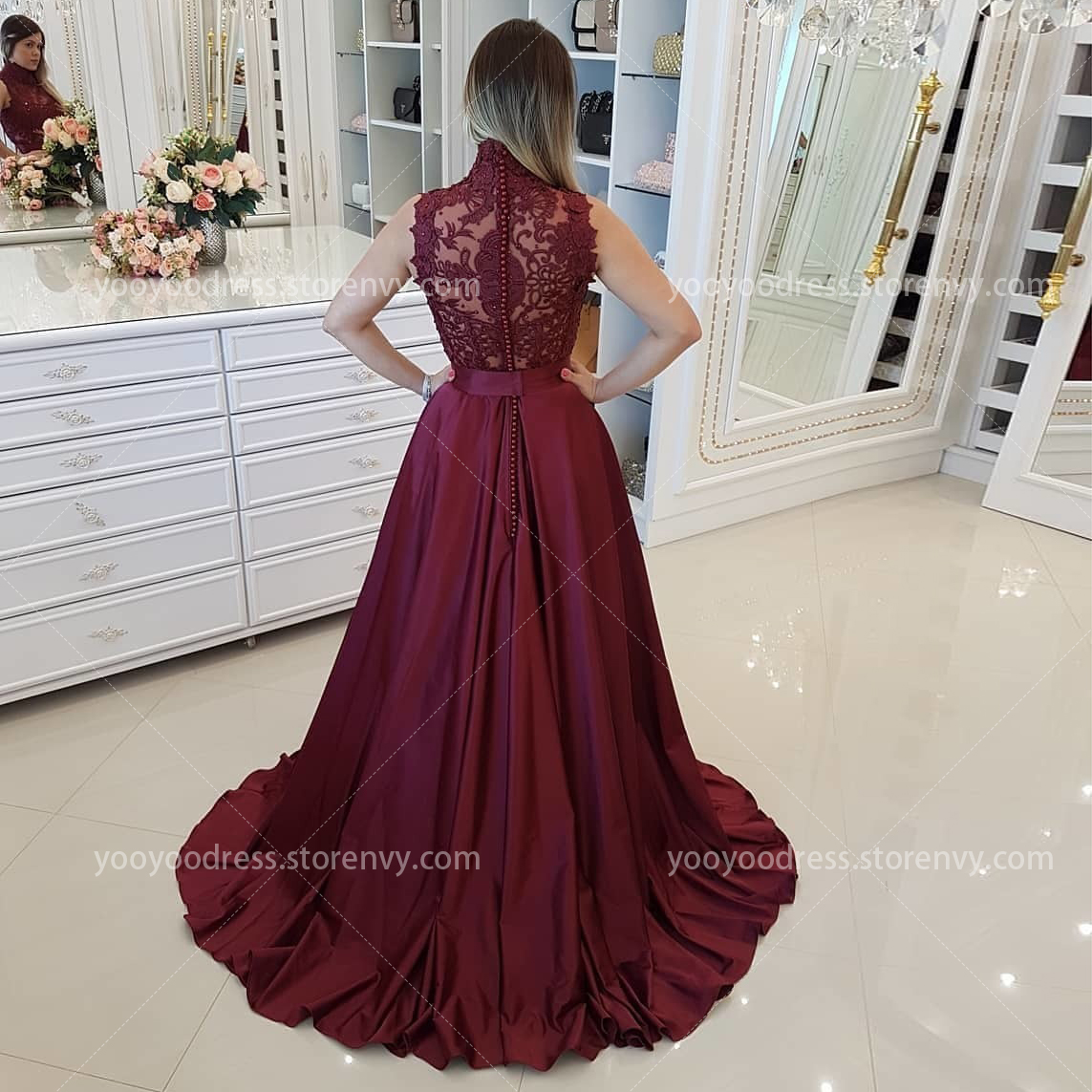 5d01315a469 Burgundy A-Line Prom Dress Elegant High Neck Lace Appliques Beaded Satin  Floor Length Formal Long Evening Party Gowns on Storenvy