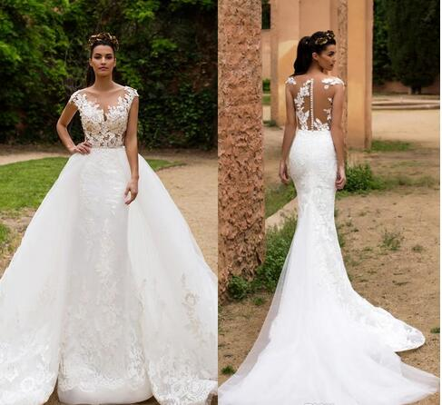Detachable Wedding Dress.Gorgeous Detachable Mermaid Wedding Dresses Illusion Sheer Back Full Lace Wedding Gowns Appliqued Court Train Bridal Gowns