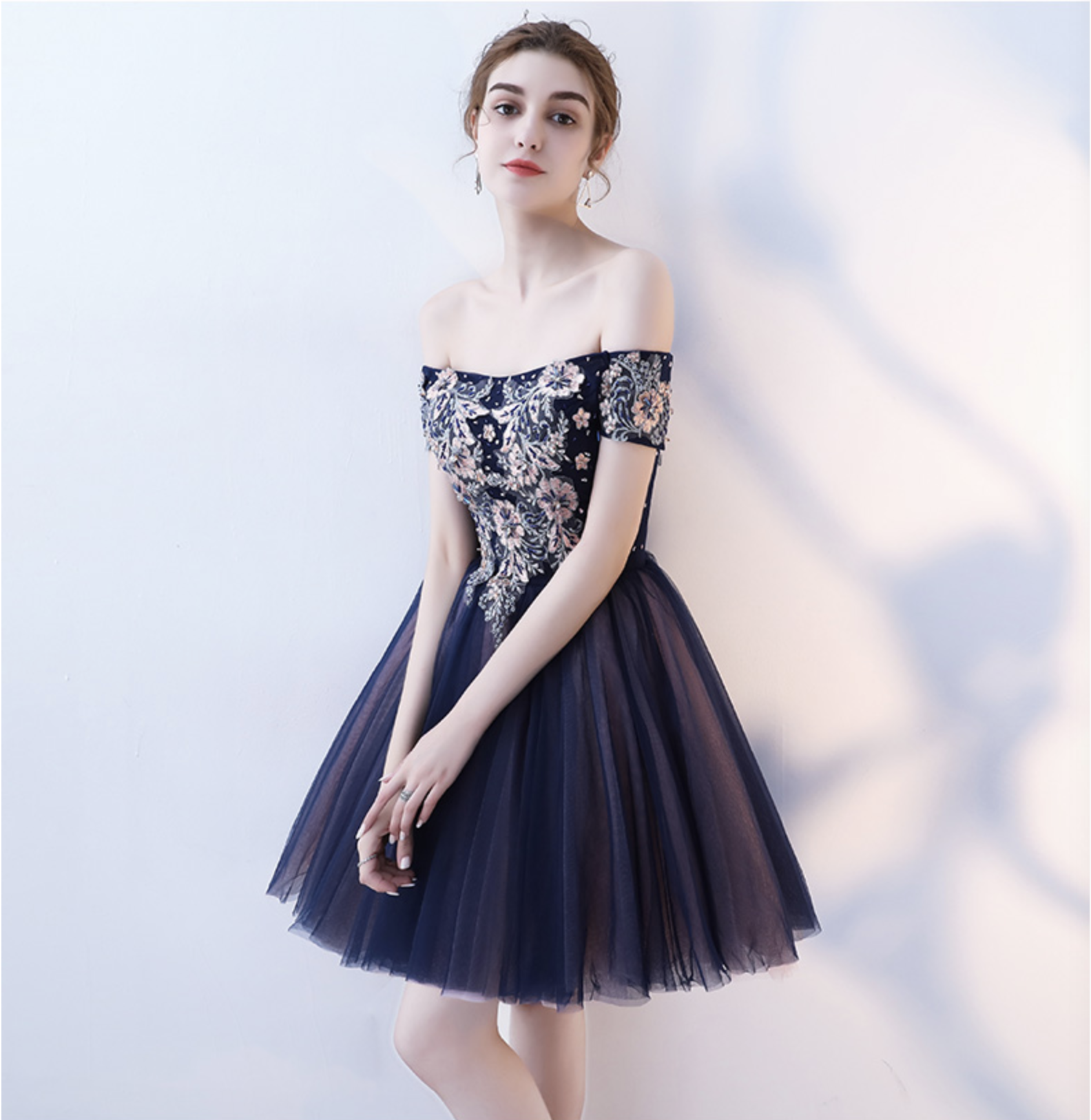 d225d4d8046 Cute tulle lace off shoulder short prom dress, homecoming dress on ...