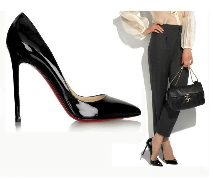 a81baf3130c1 Black Thin Heel Pointed Women's Pumps High Heels Red Bottom Vintage Sexy  Shoes for Women ...