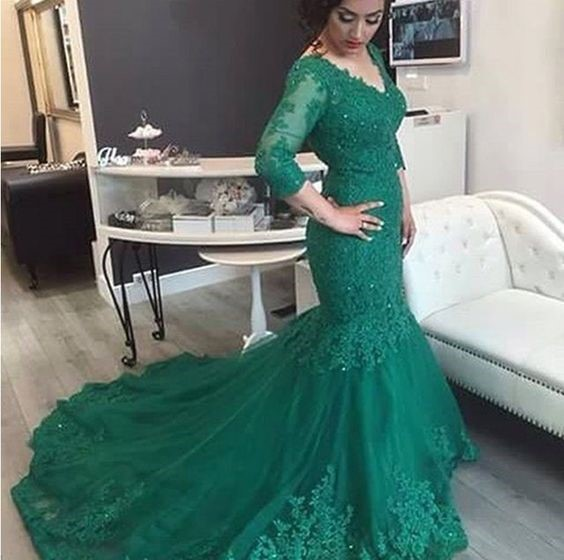 Green Lace Prom Dress Mermaid Long Sleeves Appliques Court Train ...