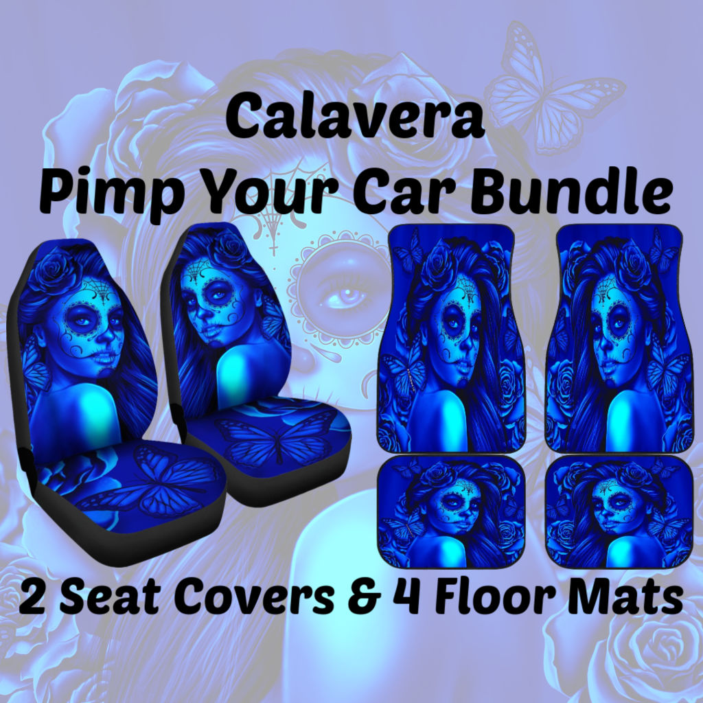 Tremendous Calavera Day Of The Dead Dia De Los Muertos Halloween Skull Design 2 Pimp Your Car Bundle Car Seat Covers And Mats Blue Sold By Dealiohound Evergreenethics Interior Chair Design Evergreenethicsorg