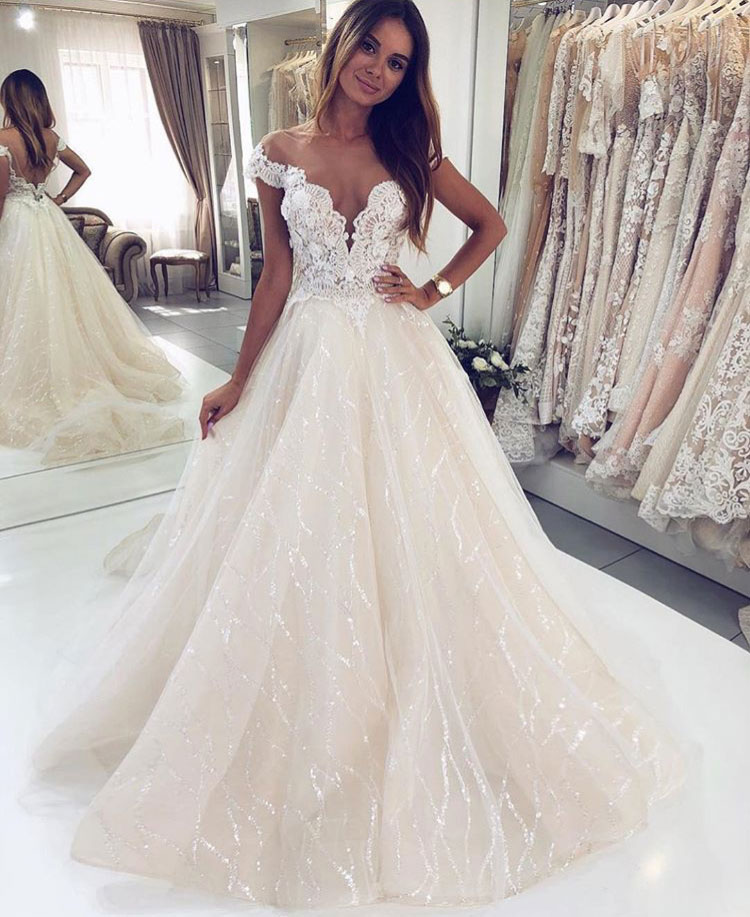 10fe39dae04 Off the Shoulder Sparkly Wedding Dresses Bridal Gown with Appliques ...