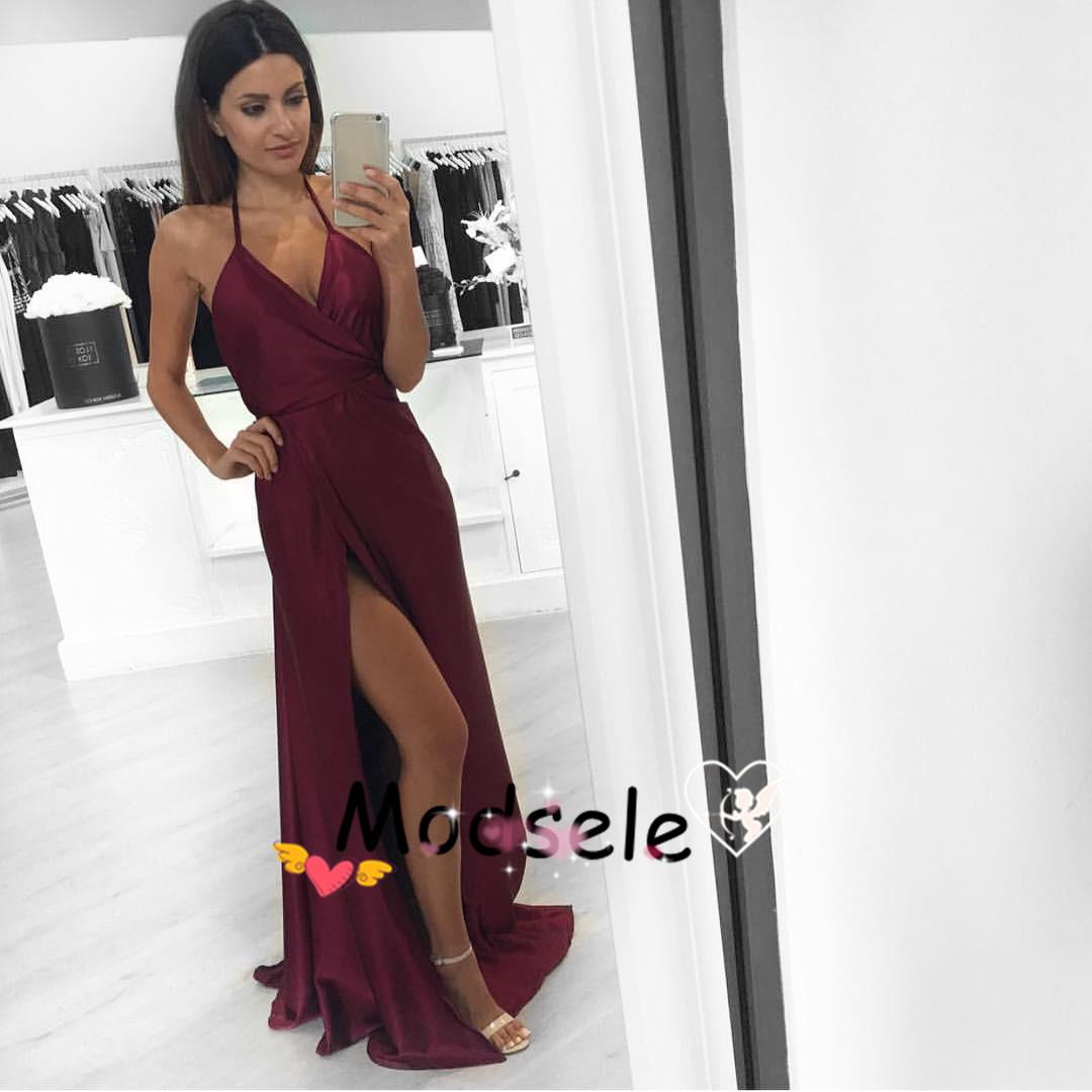 fa7a894a34 Sexy A-line V-neck Long Burgundy Prom Dress with Slit Sexy Evening Dress