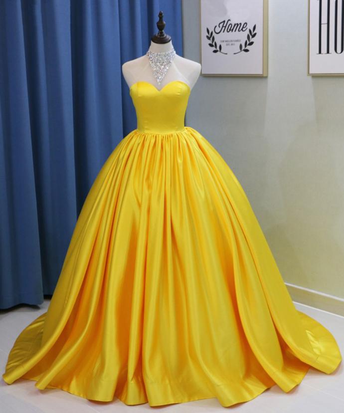 01b77b073c9 Yellow evening dress Satin ball gowns strapless Quinceanera Dress ...