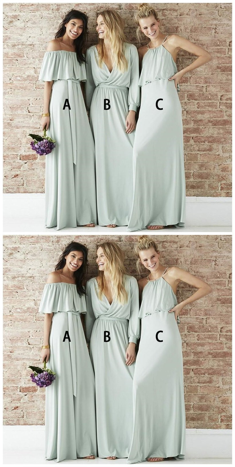 cb84e4bbb454 Prevalent Pale Cyan Mismatched Chiffon Long Bridesmaid Dresses Online,Inexpensive  Bridesmaid Dresses
