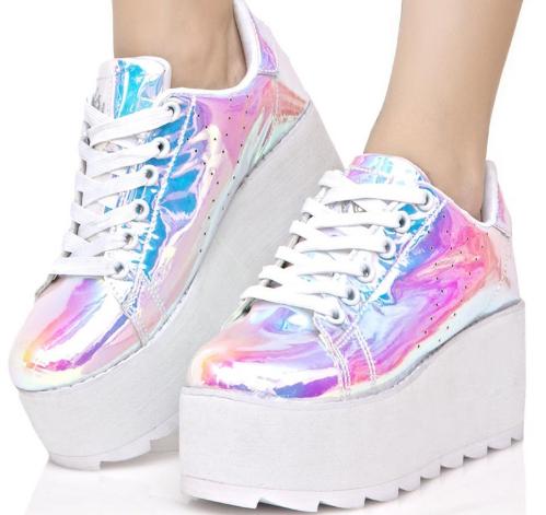 8694bcb5aa0 Laser Platform Shoes Women Kawaii Lace Up Super Hight Shoes Harajuku Spring  Autumn Vogue Laser Casual Flats Ladies Shoes
