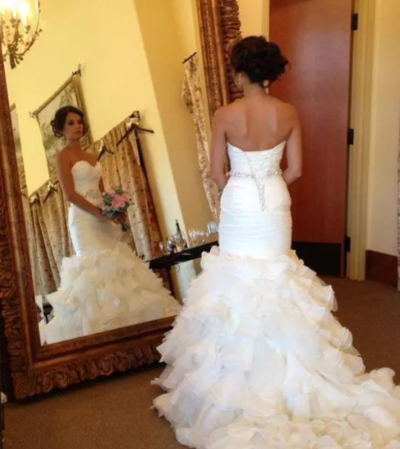 White Mermaid Wedding Dresses Long Sweetheart African Black Girl Plus Size  Ruffles Lace up Bridal Gowns Backless Court Train from better4u