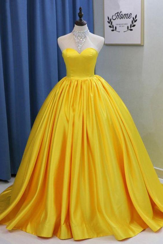 Yellow Charming Prom Dress,Satin Prom Dress,