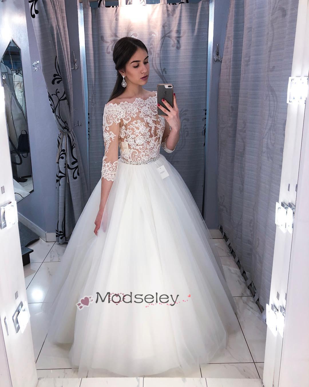 3b29c13bc188 Gorgeous Half Sleeves White Long Wedding Dress · modseleystore ...