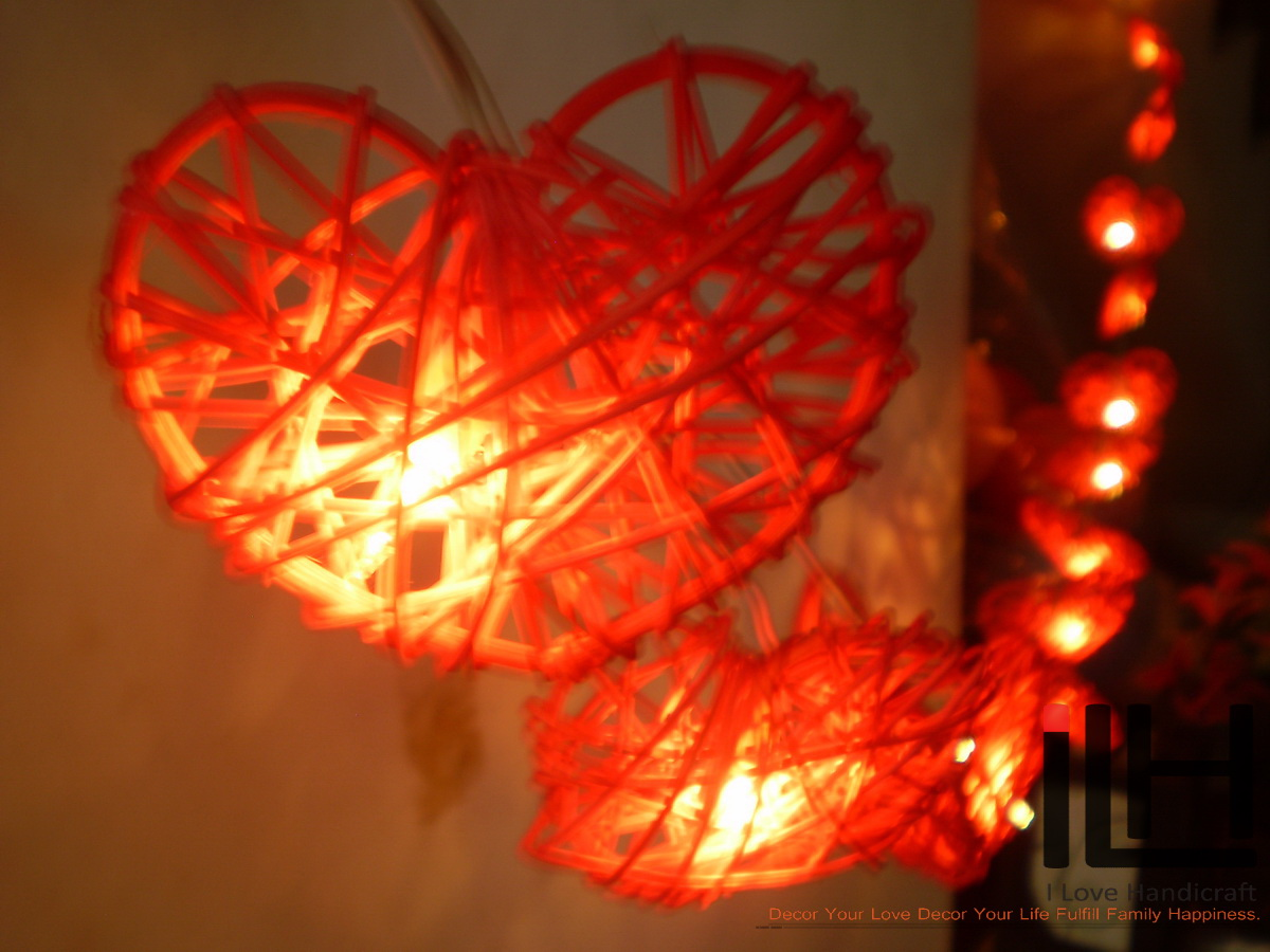 huge selection of 5892d 21ccd Indoor string lights 20 Ratten Ball String Lights varies plug system by  countries Wedding and Party Décor Warm White Light (Red heart) from I Love  ...