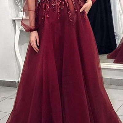690b87f4a9 Sexy backless long sleeves burgundy lace long evening prom dresses