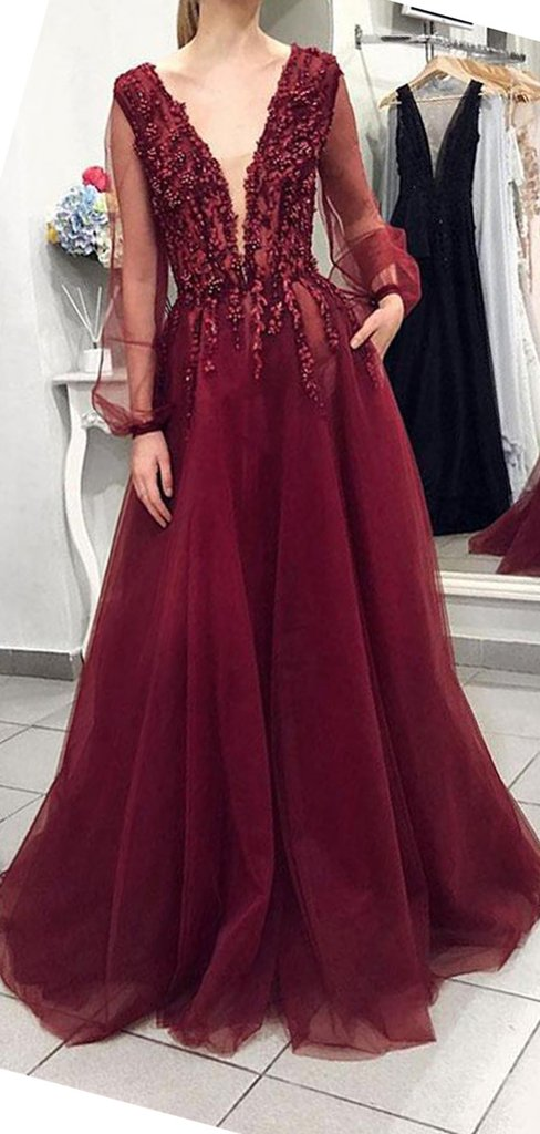 Sexy Backless Long Sleeves Burgundy Lace Long Evening Prom Dresses . f179db34f