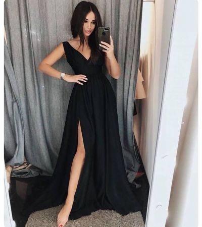 cccc5ede6ee Simple black v neck long prom dress, black evening dress from Formal Dress