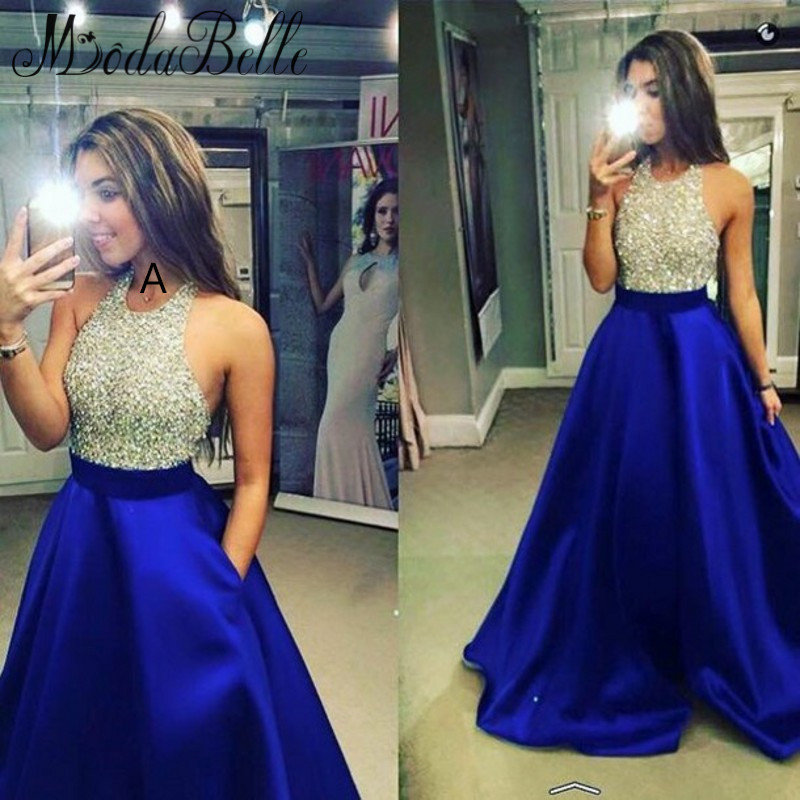 0c2bfbd3de Long Royal Blue Prom Dress with Sequins Halter Top from modsele