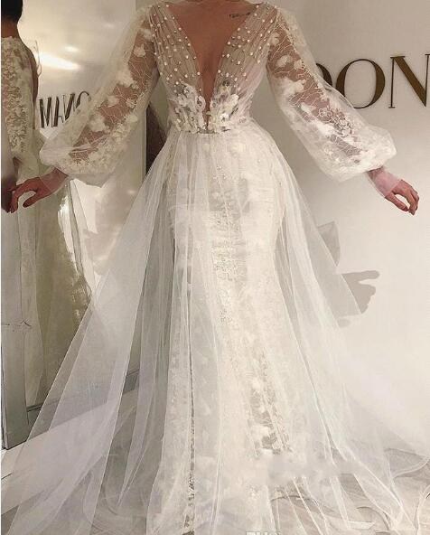 e9688741fe4a Deep V Neck Wedding Dresses Lace Long Sleeves See Through Bridal Gowns  Tulle Covered Mermaid Wedding