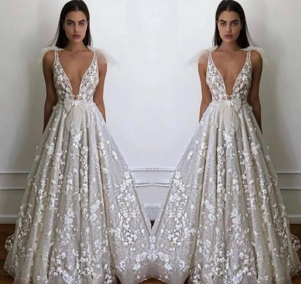 Summer Beach Garden Boho Wedding Dresses A Line Sexy Deep V Neck Appliques Fitted Bow Tie Backless Bridal Gowns Cheap Plus Size From Misszhu Bridal