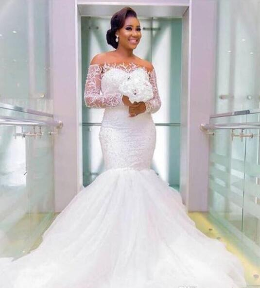 a943e18c9d31 New African Mermaid Wedding Dress Luxury Lace Off the Shoulder ...
