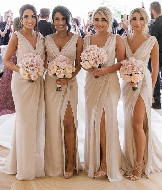 770426f66bd901 Mermaid Champagne Long Bridesmaid Dresses,Elegant Bridesmaid Gowns,2019 Bridesmaid  Gowns