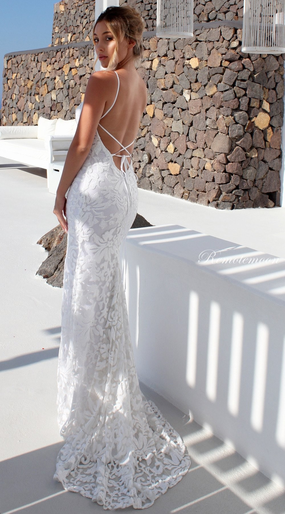c886fa1854 Sexy Halter Backless Mermaid Wedding Dress with Spaghetti Straps Lace-up  Low Open Back White ...