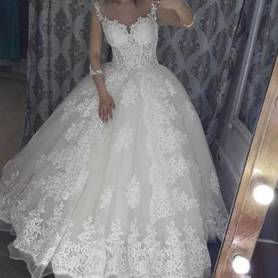 5bfeb54030 ball gown wedding dresses lace appliqued strap sweetheart bridal gowns  arabic 3 4 long sleeve