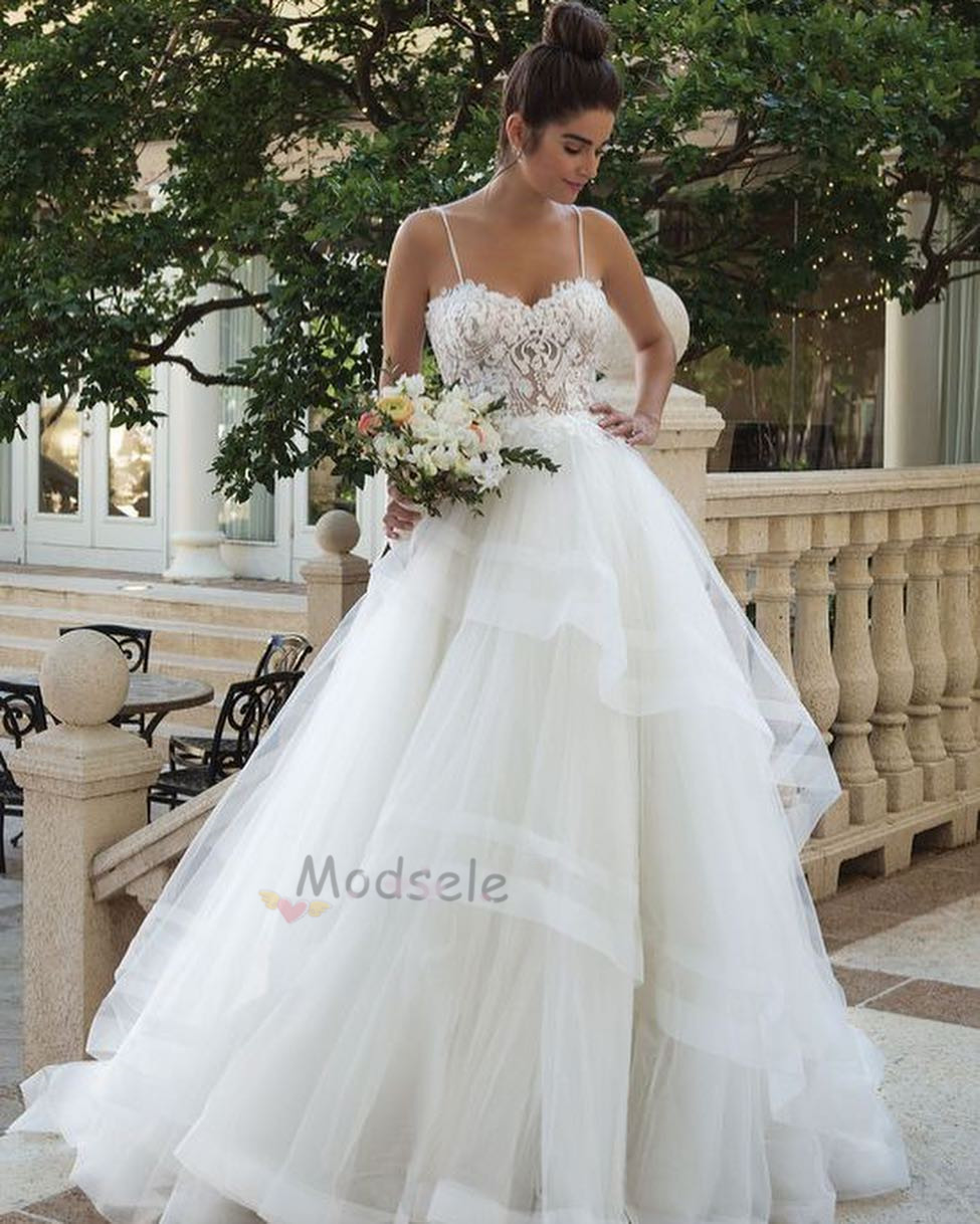 30f4b3fbb4e84 Gorgeous Spaghetti Straps Ivory Long Wedding Dress · modsele ...