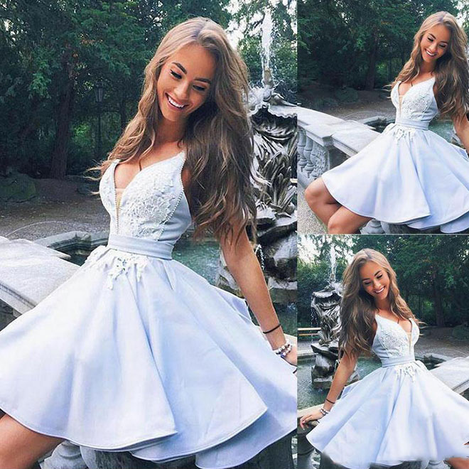 274ee77276a Cute light blue satin v neck short prom dress