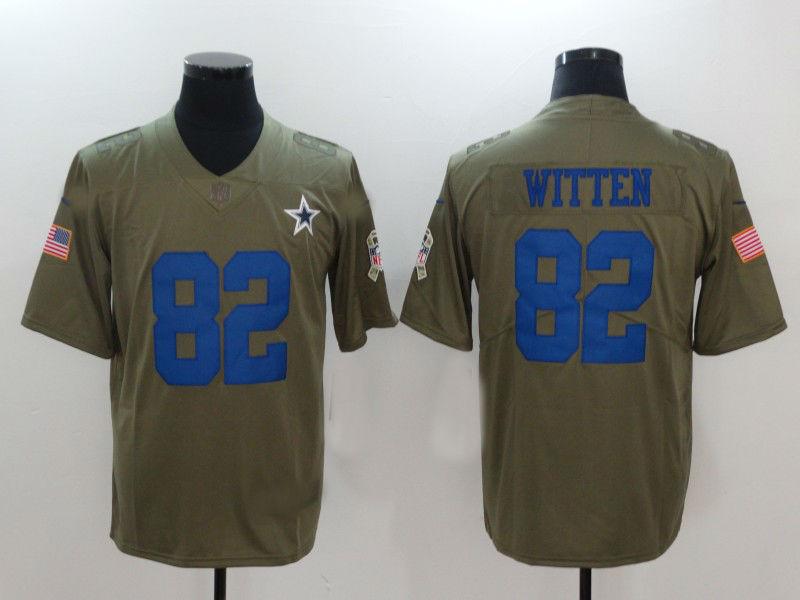best service 31d58 79807 Men's Dallas Cowboys #82 Jason Witten Olive Salute To Service Limited Jersey