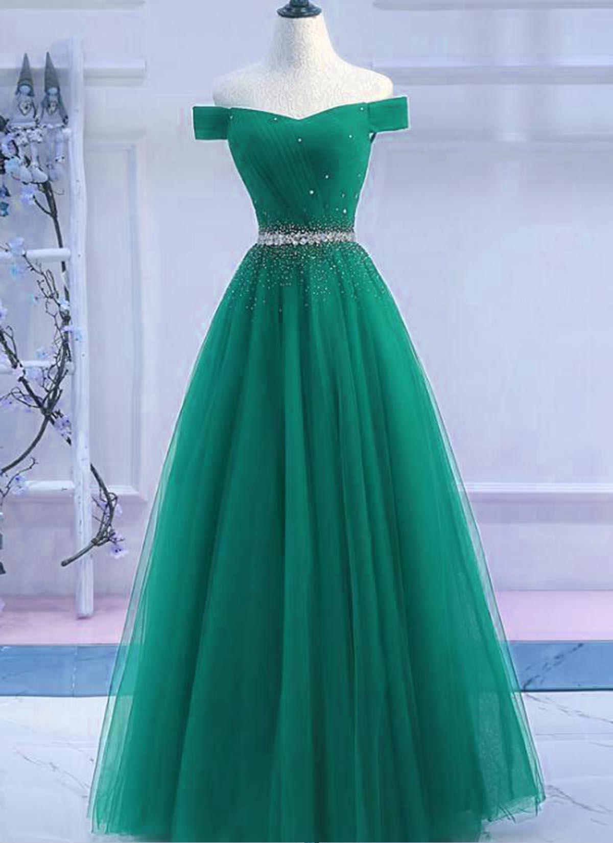 edd0d30e698 Green Tulle Off Shoulder Long A Line Prom Dress, Sequined Evening Dress