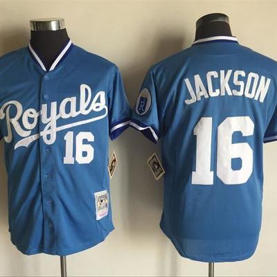 0fbe6e245 Mens mitchell ness 1985 kansas city royals  16 bo jackson baby blue  coopertown throwback jersey