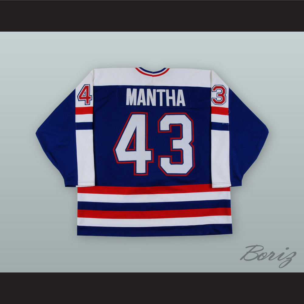 new style 1b8ff f6871 Moe Mantha 43 USA National Team Blue Hockey Jersey