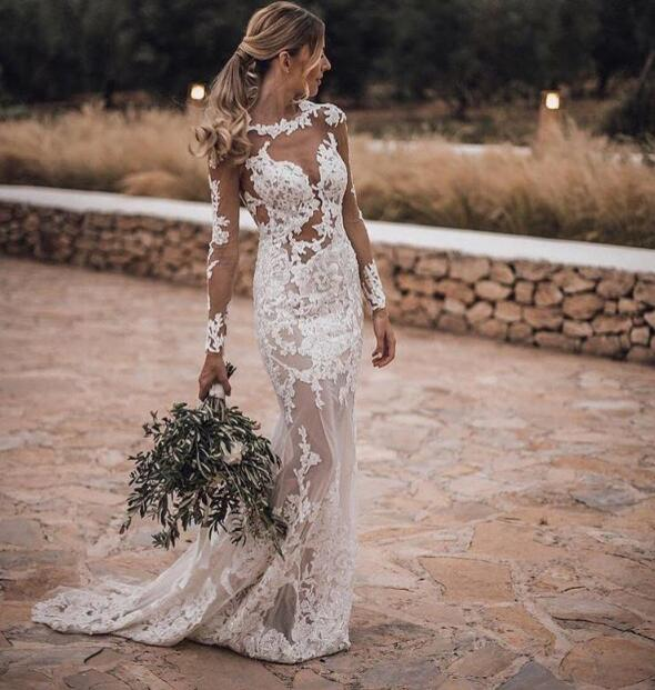 103d2057002 Sexy Beach Long Sleeves Mermaid Wedding Dresses Crew Neck Open Back  Applique Lace Plus Size Bohemian Bridal Gowns on Storenvy