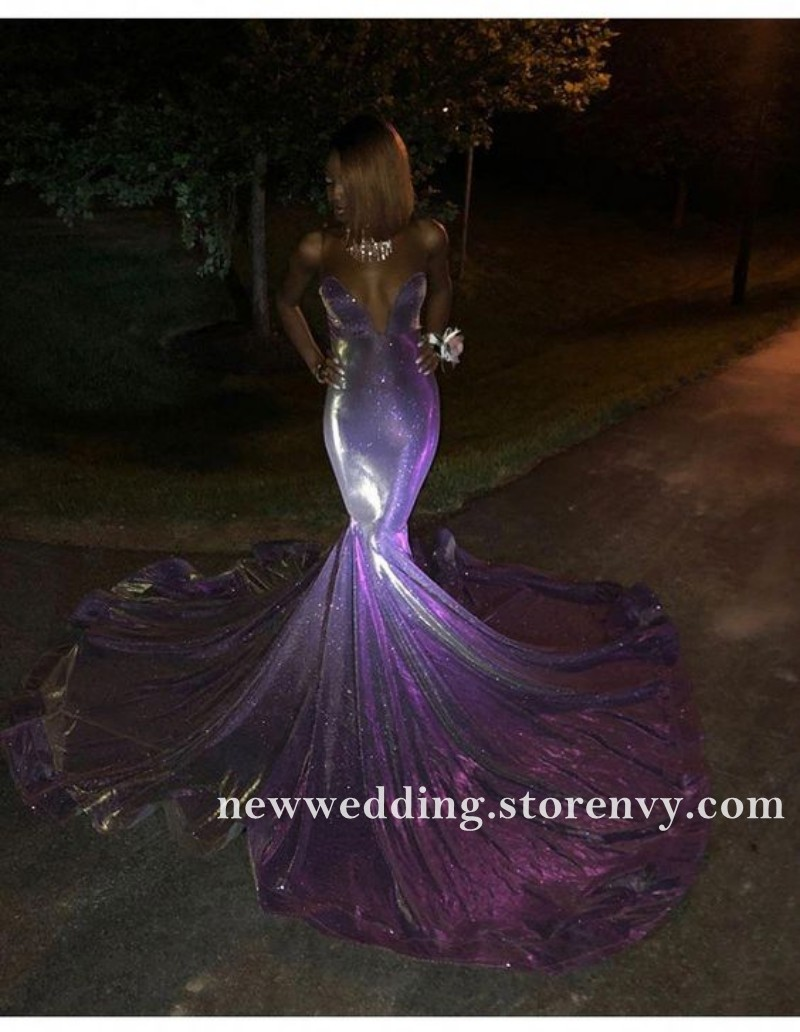 Purple Mermaid Black Girl Prom Dresses Sexy Sheer Neck ...