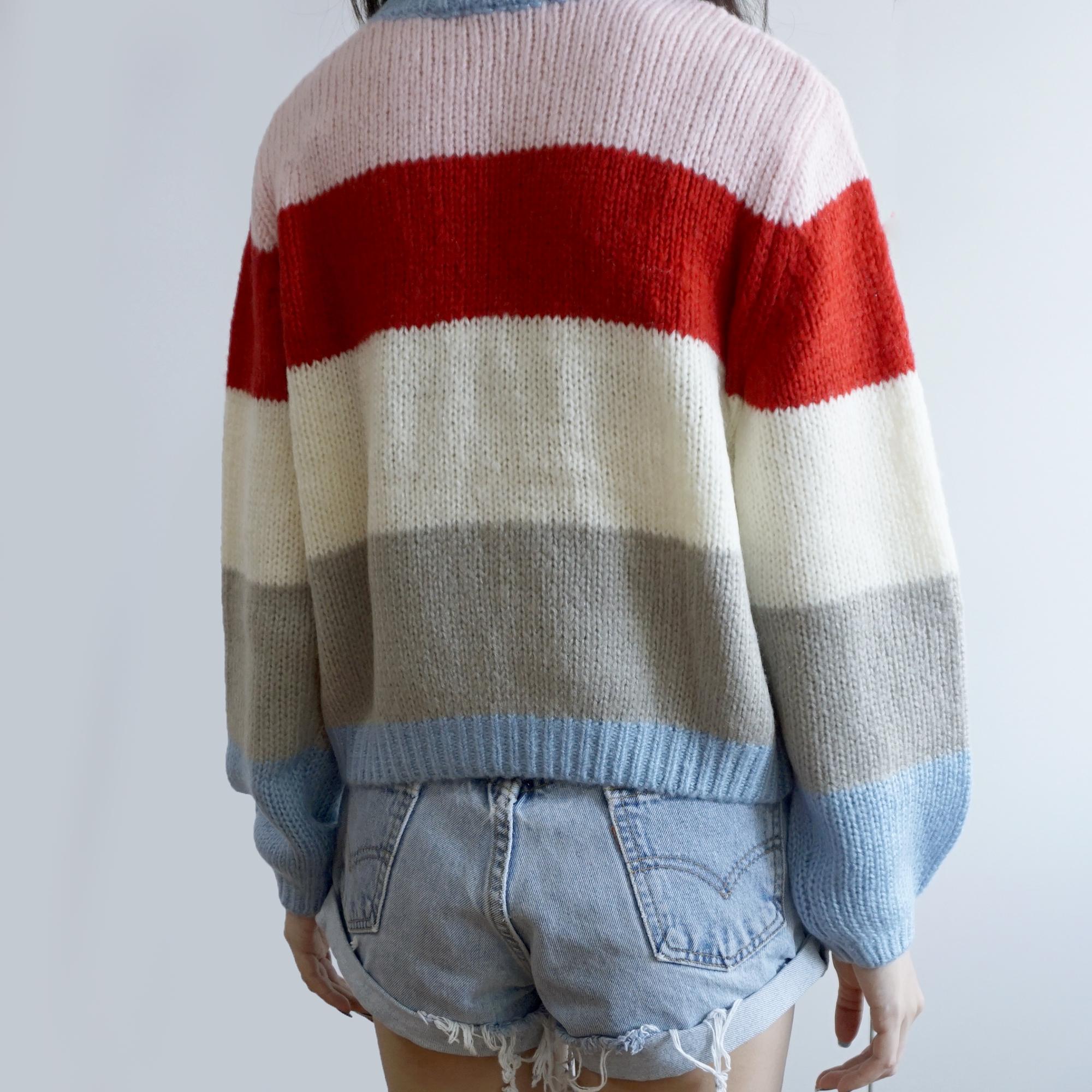 c3559e3516371f Colorblock Stripe Sweater (Pink Blue) · Megoosta Fashion · Free ...