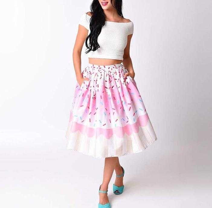 031ba12dbcbf S M L white pink striped cupcake sprinkle print a-line sweet gothic lolita  skirt kawaii fairy