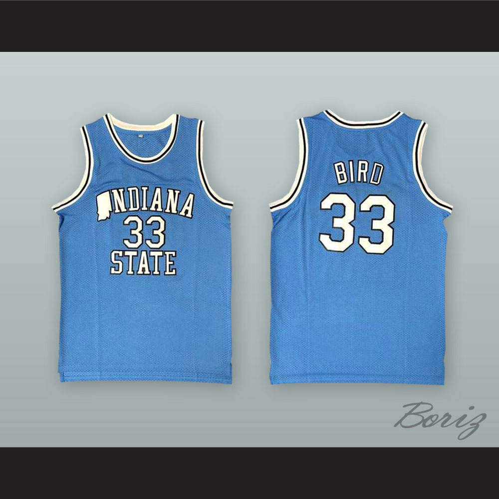 reputable site f1277 17b6f Larry Bird 33 Indiana State Light Blue Basketball Jersey from acbestseller