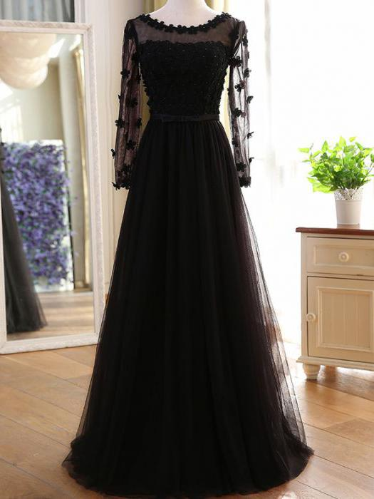 Long Modest Prom Dresses with Sleeves