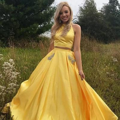 d5ae88de8c Satin yellow two piece prom dresses with rhinestones pockets