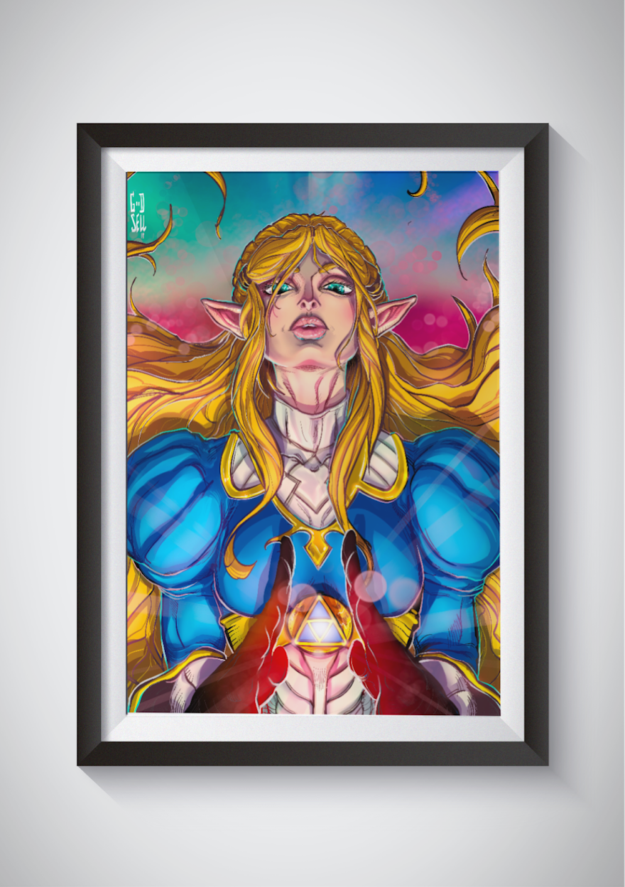 Princess Zelda Poster Legend Of Zelda Wall Art Print Breath Of The Wild Nintendo Fanart Anime Video Gamer Gifts For Men Super Smash Brothers From