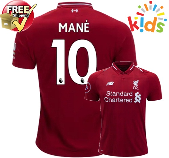 94f0a9620da Sadio Mane  10 Liverpool Home Kids Youth 18 19 Soccer Jersey Shorts Socks  Red