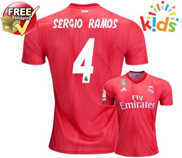 b3ee132ffa4 Sergio Ramos  4 Real Madrid Third Kids Youth 18 19 Soccer Jersey Shorts  Socks
