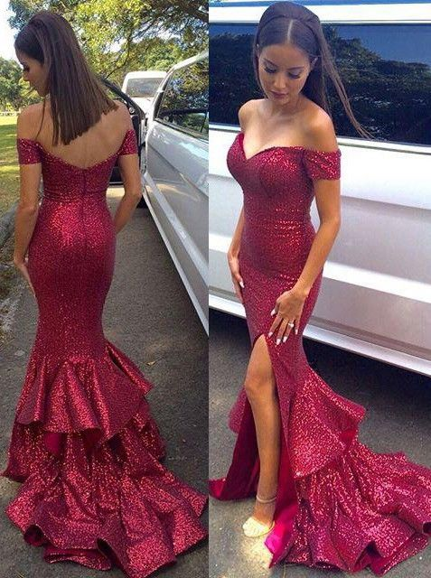 a0850bd45aff Red Prom Dresses, Sequined Prom Dress,Sexy Mermaid Prom Dress,Off The  shoulder