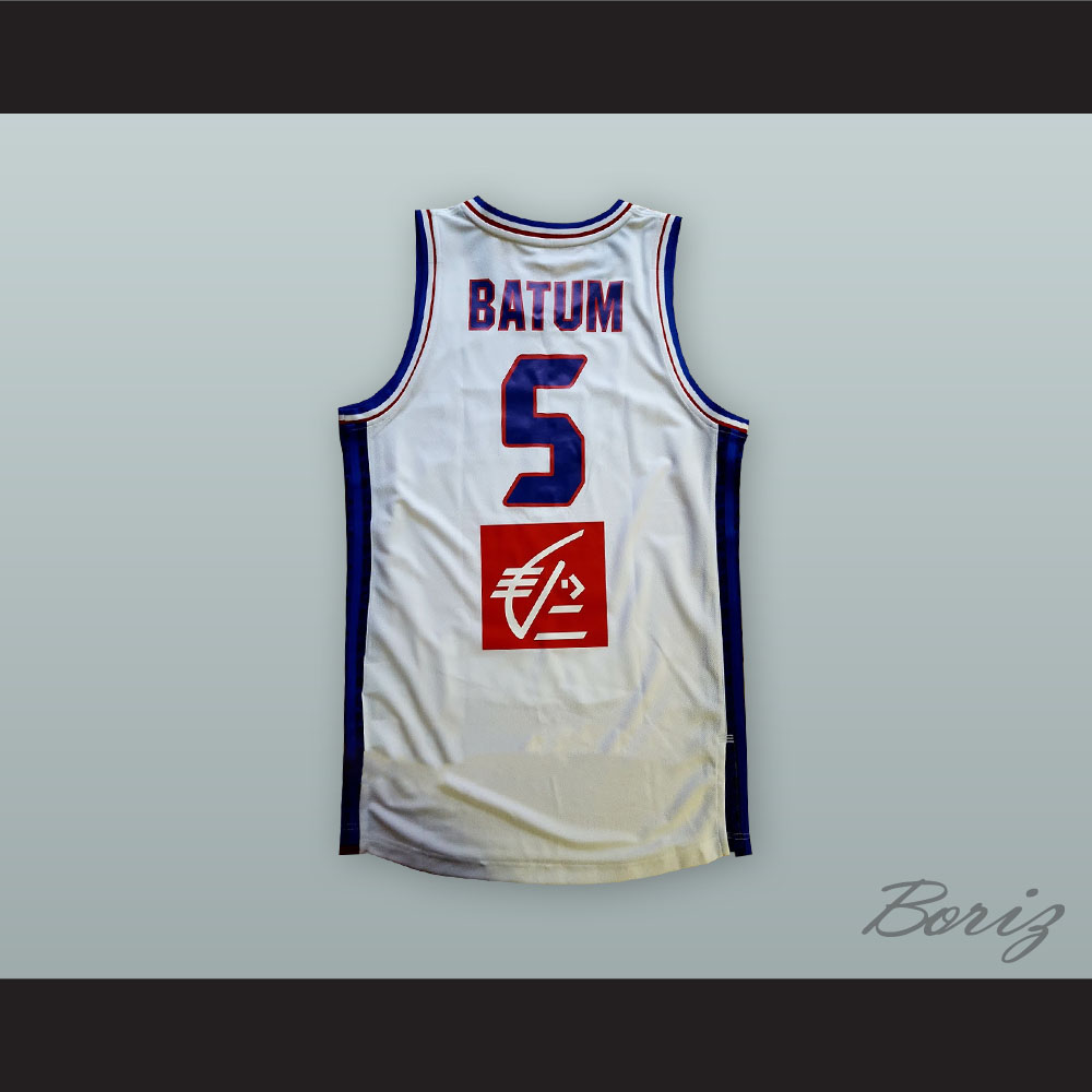 official photos 1ee8b 3fd52 Nicolas Batum 5 France National Team White Basketball Jersey from  acbestseller